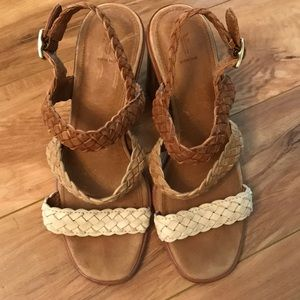 Frye woven leather heeled sandals